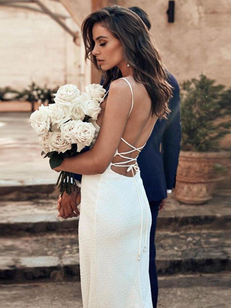 Satin Spaghetti Straps Open Low Back Fit Body Wedding Gown Sheath Dress