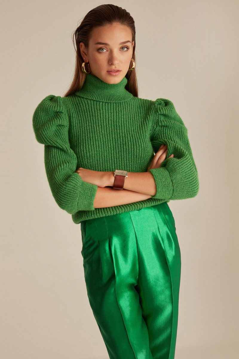 Joinus Knitted Puff Sleeve Sweater Jumper With Roll Neck Woman Green