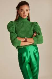 Joinus Knitted Puff Sleeve Jumper With Roll Neck Woman Green