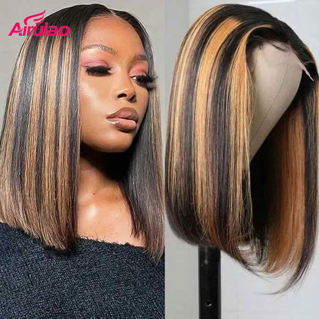 Highlight Honey Blonde Short Bob 13x6 Lace Frontal Human Hair Wigs Colored Lace Front Wig Nature Baby Hair For Full Black Women 2