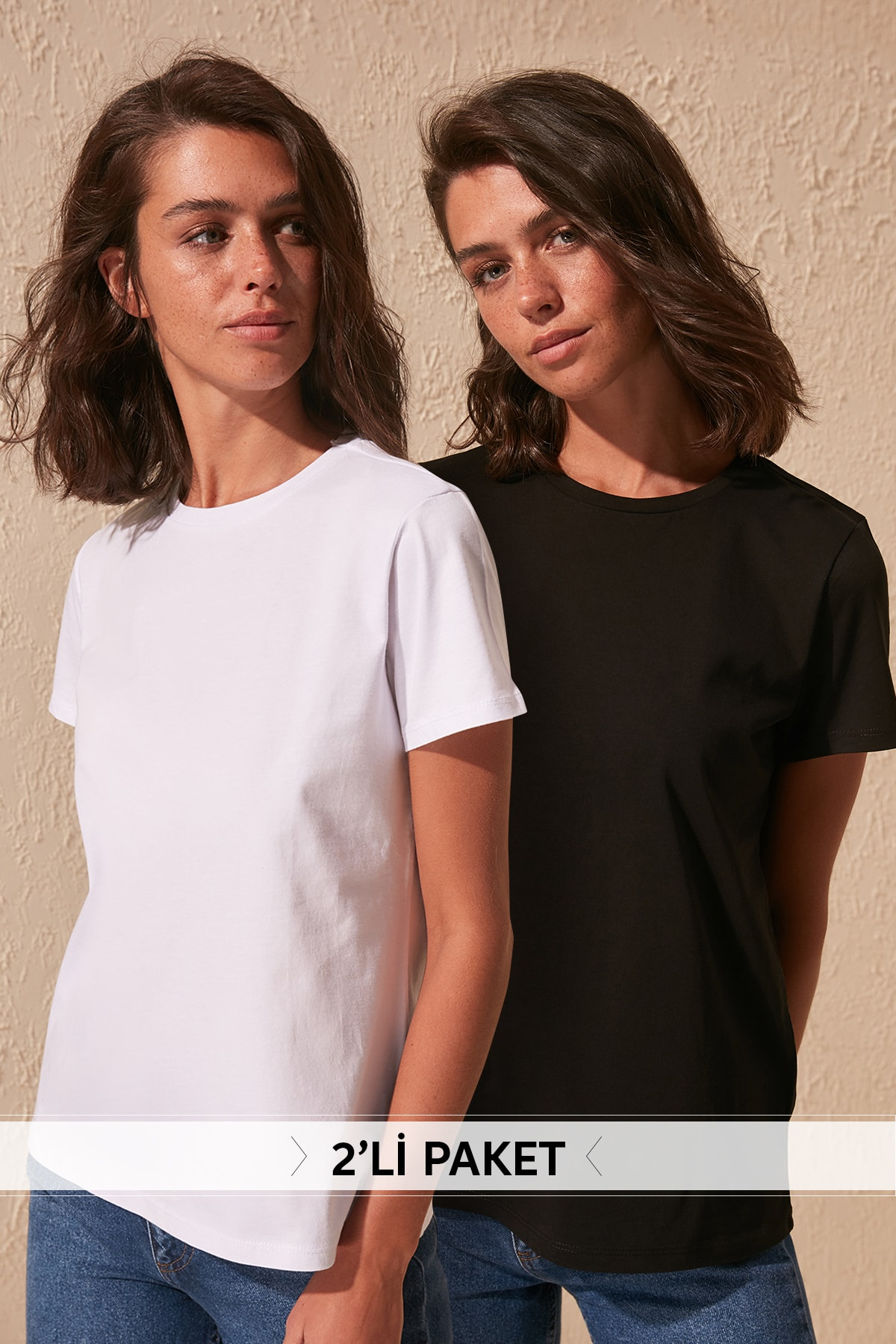 Trendyol Black And White 100 Cotton Cycling Neck 2'li Package Knitted T-Shirt TWOSS20TS0141