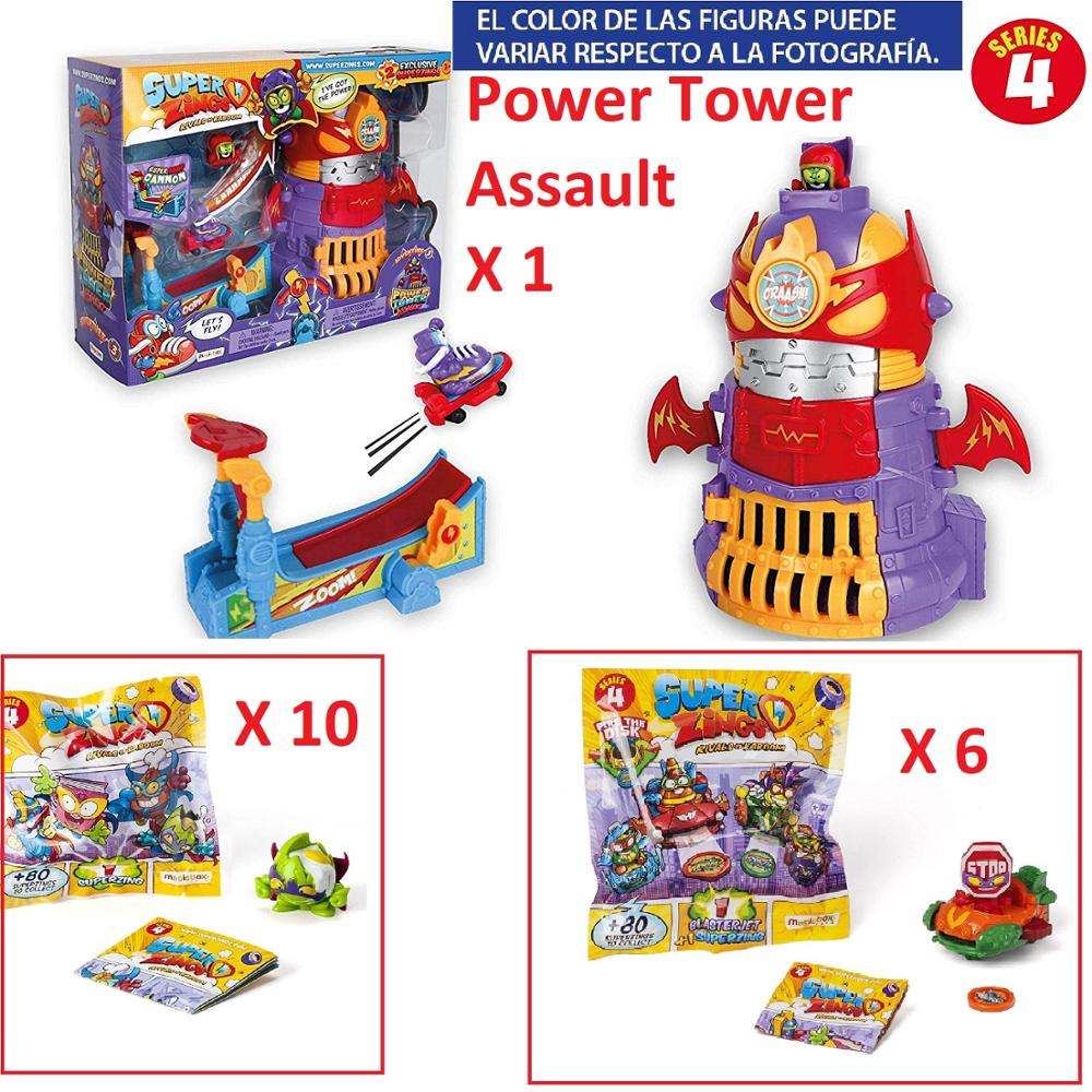 SuperZings Series 4-Pack Surprise With 17 Sets/1Power Tower Assault, 10 Envelopes One Pack, AND 6 Envelopes BlasterJets