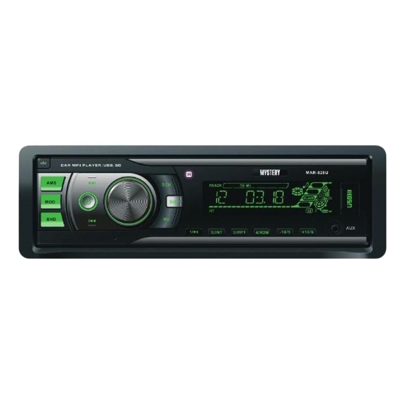 Car radio MYSTERY MAR-828U (4x50 w Amplifier, detachable panel Usb Port, green backlight, AUX in, 2 pairs lin. Output mystery mar 929u
