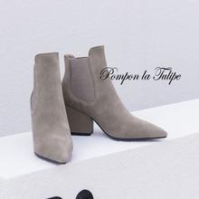 купить BHS 9011187 Chic Genuine Cow Leather Elegant 7.5CM Chunky Heel Pointed Toe Elastic Band Women Mid Calf Fashion Chelsea Boots дешево