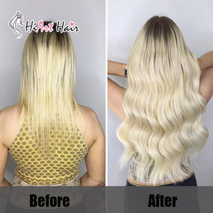 """Image 5 - HiArt 100g Weft Hair Extensions In Real Human Remy Hair Salon Double Drawn Blonde Bundle Weaves Hair Straight Factory 18"""" 22"""""""