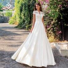 Dekolt w szpic aplikacje satynowa suknia ślubna Swanskirt SW06 krótki kimonowy rękaw koronkowa linia sąd pociąg iluzja suknia ślubna vestido de noiva