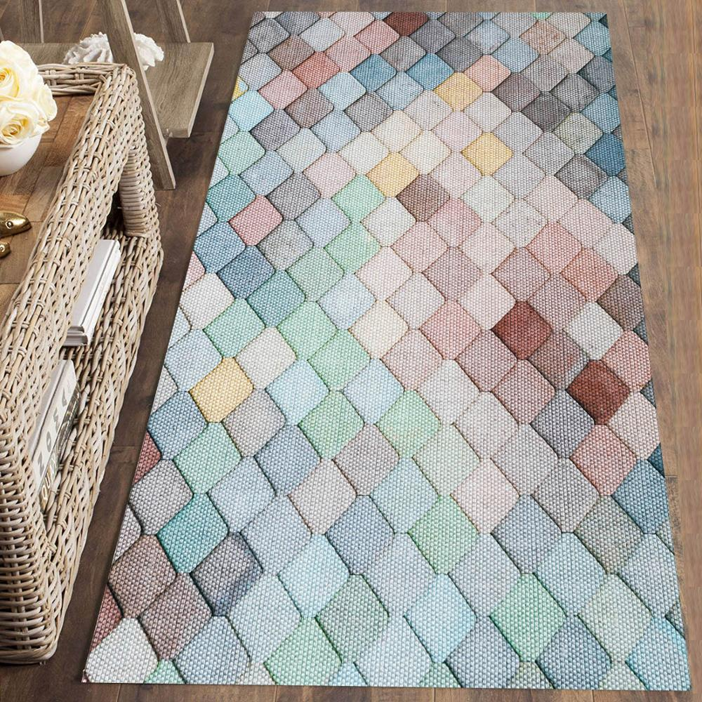 Else Brown Blue Yellow Tiles Geometric Nordec 3d Print Non Slip Microfiber Washable Runner Mats Floor Mat Rugs Hallway Carpets