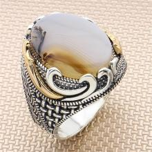 925-Sterling-Silver Ring Yemen Gemstone Jewelry Agate with for Gift Handmade-Turkish