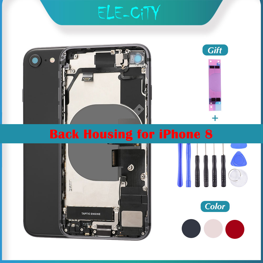 OEM Back Cover Housing For IPhone 8 Back Middle Frame Chassis Flex Cable Full Assembly Battery Cover With Side Buttons  ''LOGO''