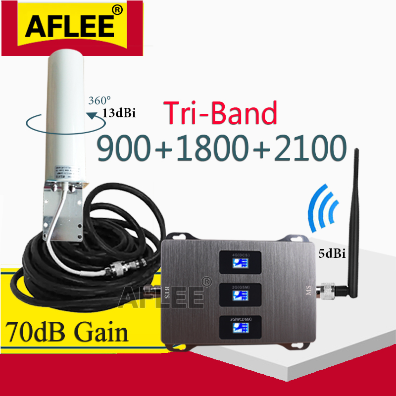 Hot! 900 1800 2100 2G 3G 4G Tri Band Cellular Signal Booster Amplifier GSM Repeater 2g 3g 4g Mobile Signal Booster GSM DCS WCDMA
