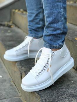 Silk Road White Lace-Up Single Men Sneaker Shoes