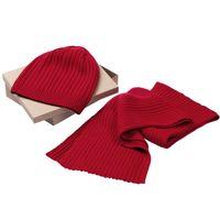 Set stripes: scarf and hat, unisex, acrylic, 6769, Teplo
