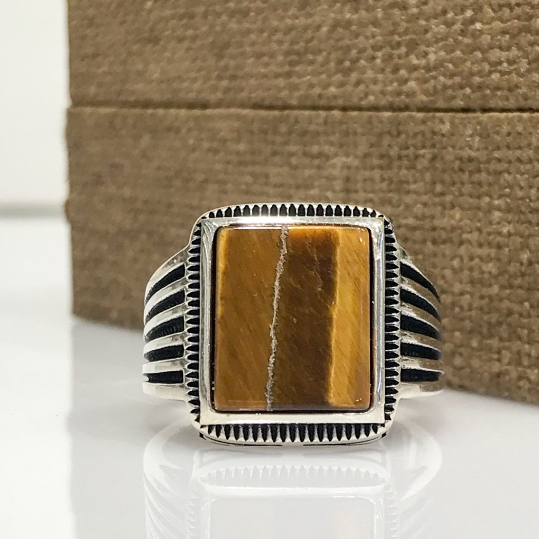 Tiger's Eye Gemstone Simple Elegant Silver Men'S Ring