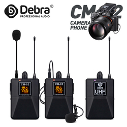 Professional UHF Wireless Lavalier Microphone with 30 Selectable Channels 50m Range for DSLR Camera Interview Live recording
