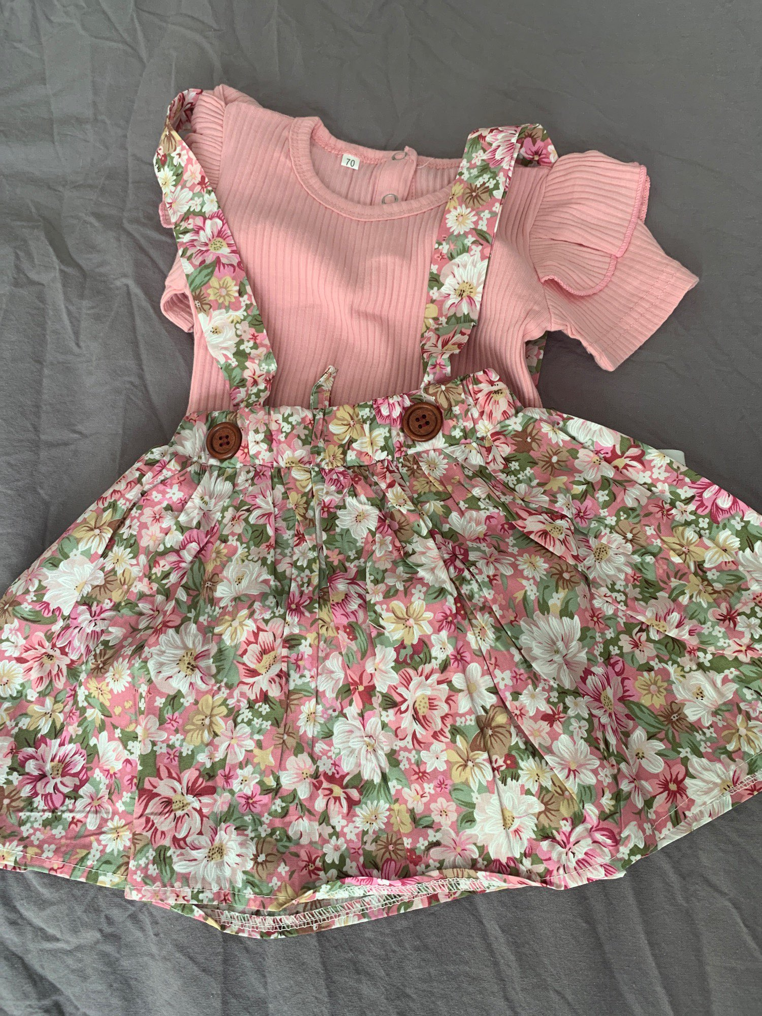 3Pcs Baby Girl Summer Clothing Set Outfit Romper Ruffle Floral Dress Overalls Outfit For Toddler Clothing photo review