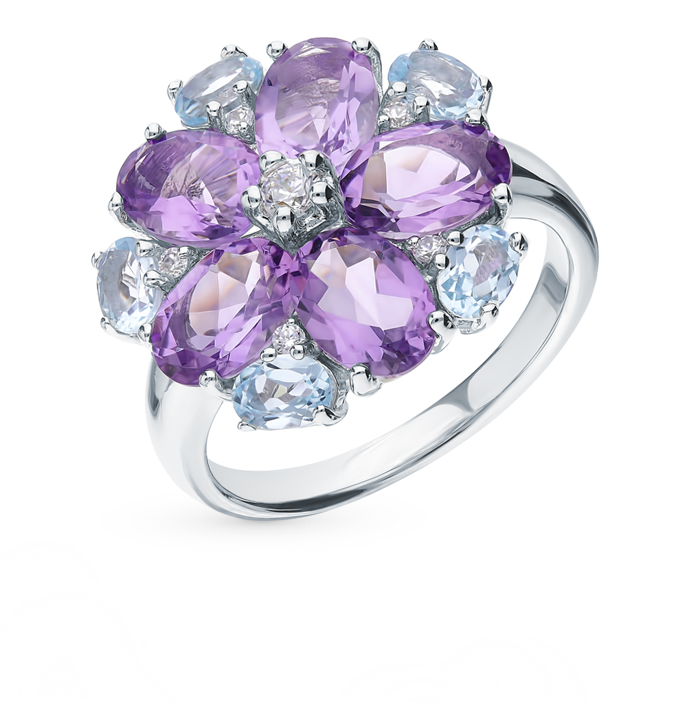 Silver Ring With Amethyst, Topaz And Cubic Zirconia Sunlight Sample 925
