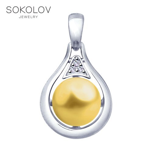 Pendant SOKOLOV From Silver With Pearls Swarovski Crystals Fashion Jewelry 925 Women's Male