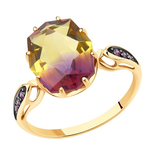 Ring. Gold ситаллом Ametrine And Cubic Zirkonia