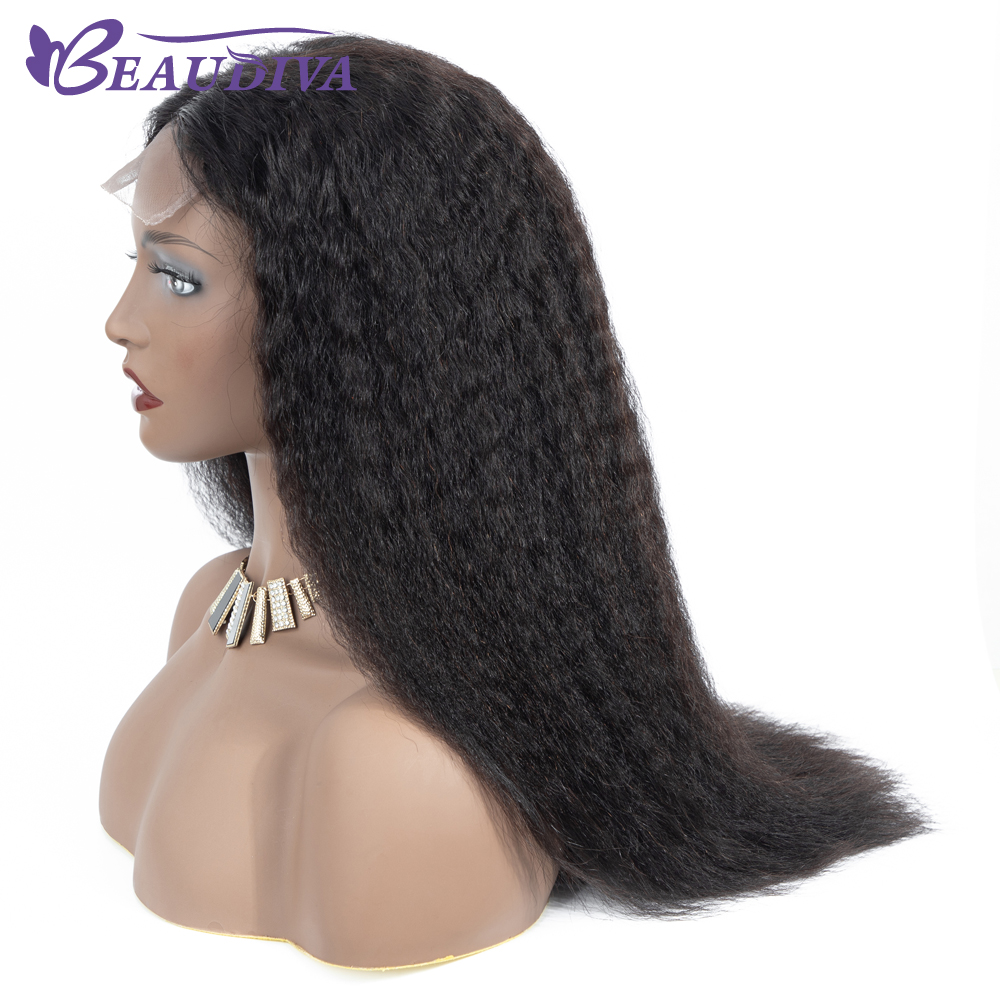 Ucce355d7cafd4f9588802dd29f449033C Curly Haman Hair Wig Brazilian Kinky Straight 4*4 Lace Closure Prepluck with baby hair closure wig 100% Human Hair Wigs
