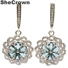 Elegant Paris Blue Topaz, White CZ Wedding Engagement 925 Silver Earrings Gift