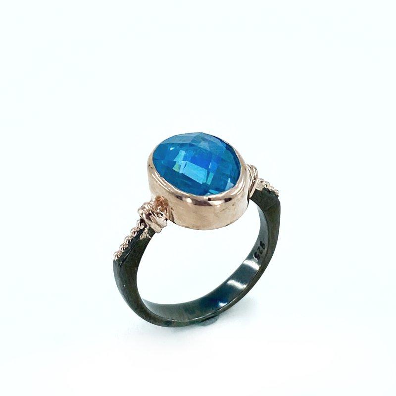 Hand Production Custom Design Aquamarine Gemstone Silver Ring