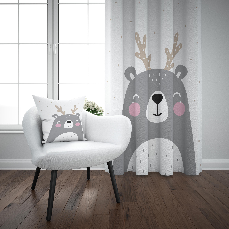 Else White Gray Cute Animals Scandinavian Nordic 3d Print Kids Baby Children Window Panel Set Curtain Combine Gift Pillow Case