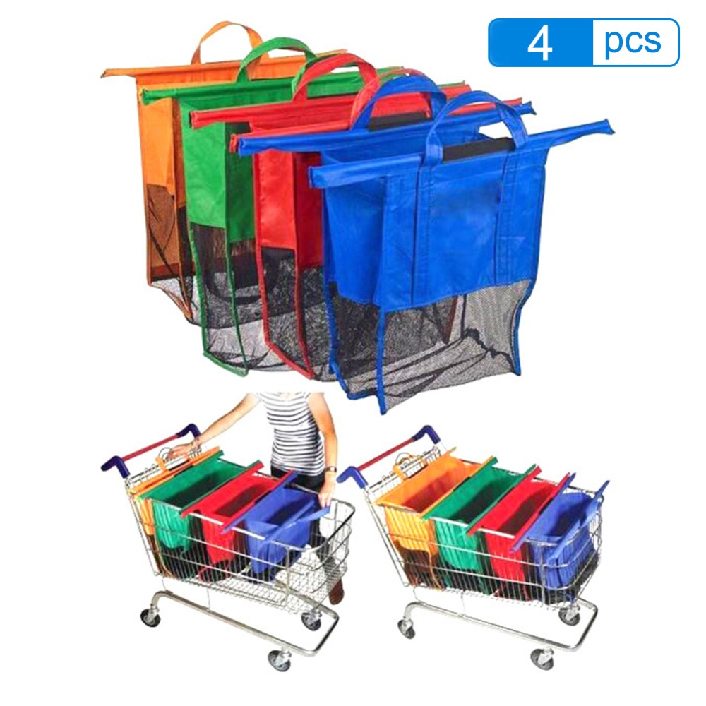 Supermarket Cart Trolley Shopping Bags Foldable Reusable Grocery Grab Eco Supermarket Bag Foldable Tote Handbags 2019 4PCS / Set