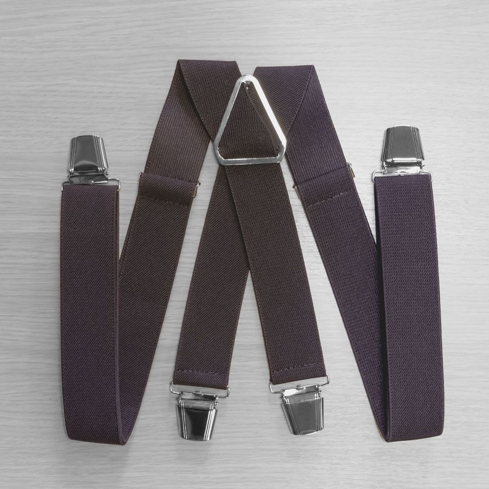 Pants Suspenders With Reinforced Clips (3.5 Cm, 4 Clips, Brown) 54766