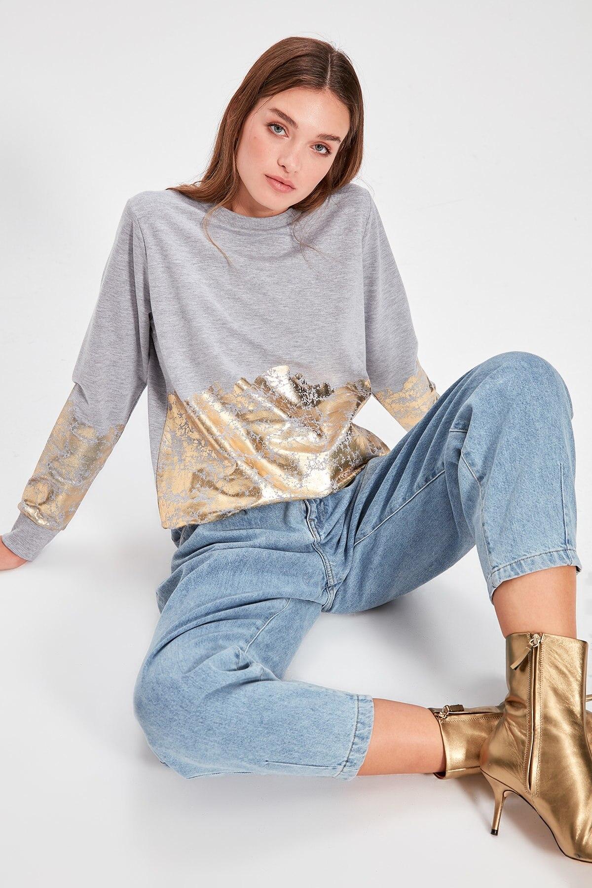 Trendyol Gray Leaf Knitted Sweatshirt TWOAW20SW0085