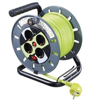 Enrollacables electrico de 4 schuko con proteccion 25 M Verde
