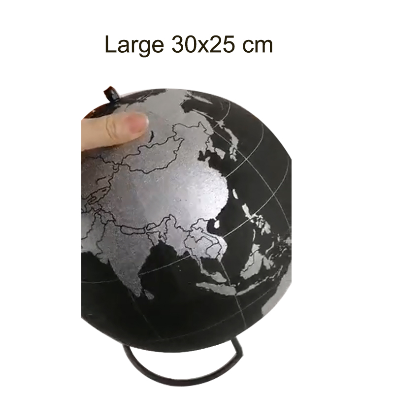 Silver Cork Wood Tellurion Silver Globes Marble Maps Home Office Decoration World Map Inflatable Training Geography Map Balloon