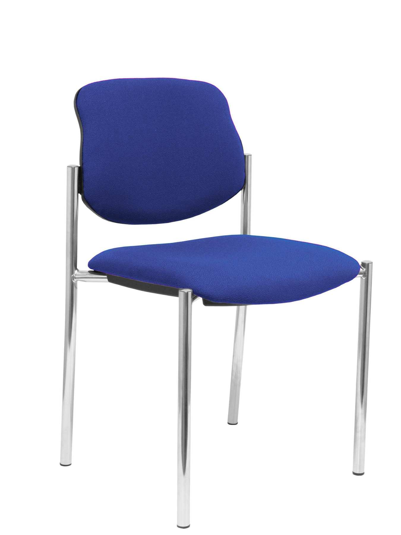 Confident Chair 4-leg And Estructrua Chrome Seat And Back Upholstered In Fabric BALI Blue PIQUERAS And CRE