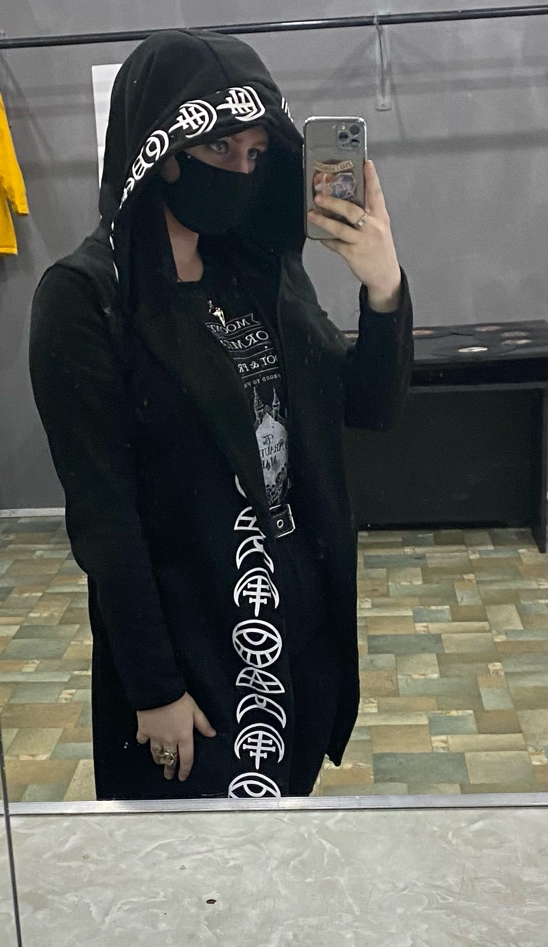 Loose Coat Hoodie With Moon Print photo review