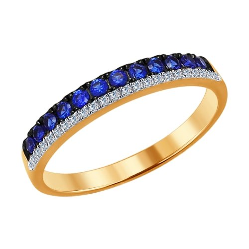 SOKOLOV Ring Gold With Diamonds And Sapphires