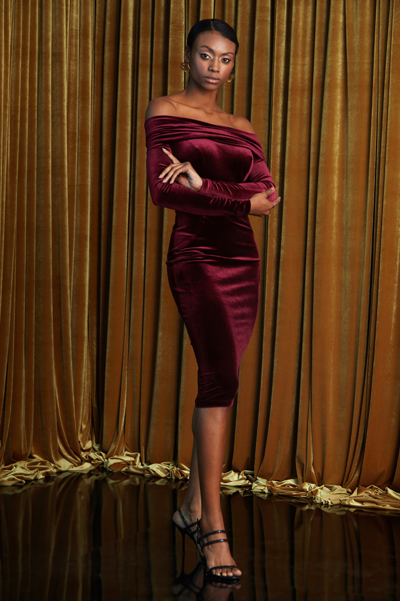 Velvet Long Sleeve Midi Evening Dress 2020 Wedding Party Cocktail Party Dress Open Shoulder Burgundy Bodycon Made In Turkey