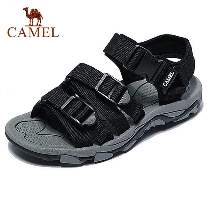 CAMEL Soft Breathable Comfortable Hiking Shoes Men Sandals Beach Genuine Leather Outdoor Non-slip Slippers Fast Dry Footwear(China)