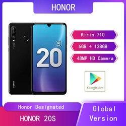 Huawei HONOR 20S 6 ГБ + 128 Гб мобильные телефоны 6,15 ''Kirin 710 Восьмиядерный Android 9 24MP фронтальная задняя HD камера 4G смартфон с двумя sim-картами