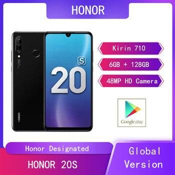 Перейти на Алиэкспресс и купить Huawei HONOR 20S 6 ГБ + 128 Гб мобильные телефоны 6,15 ''Kirin 710 Восьмиядерный Android 9 24MP фронтальная задняя HD камера 4G смартфон с двумя sim-картами