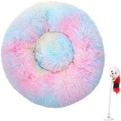 2021 nowy kolor Rainbow Marshmallow uspokajające legowisko dla kota buda dla psa okrągły Longhair łóżko dla psa kot hodowla kształt pączka mata dla psa artykuły dla zwierząt