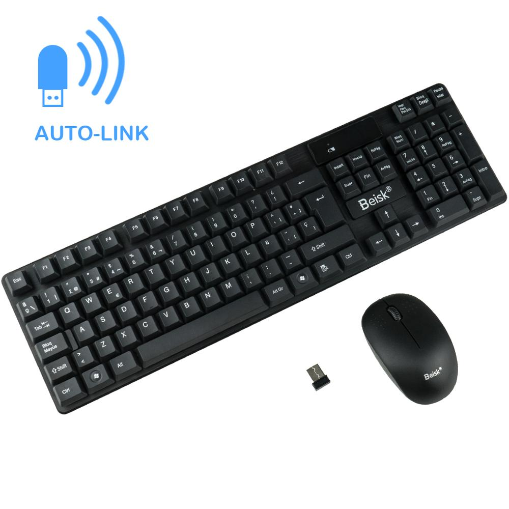BEISK Pack Teclado Plus Wireless Mouse Spainish, Tenderness Mechanical For PC, Mac, Windows, Etc.