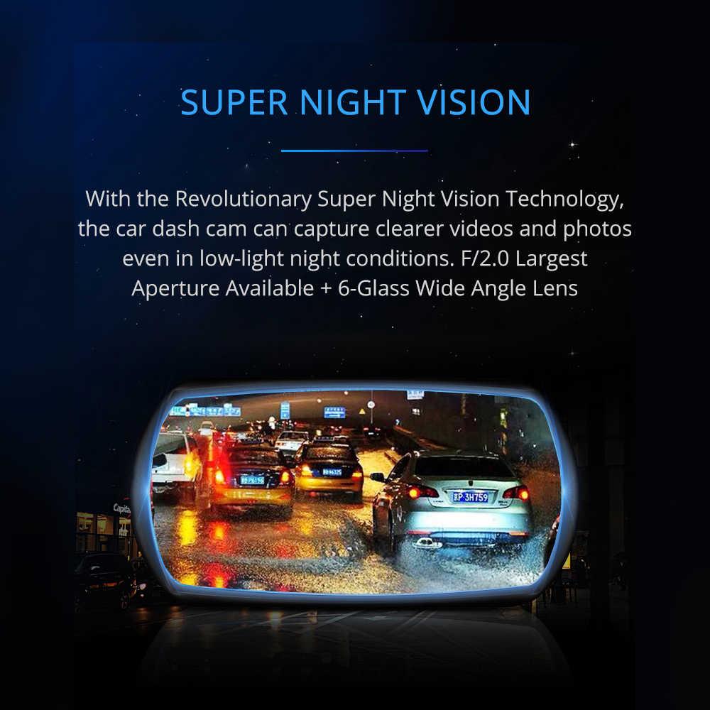 Azdome M11 DVR 24H Monitor Parkir Mobil Kamera Mini Dashcam Dual Lensa Malam Visi 1080P Rearview Dash Cam dukungan GPS Asli