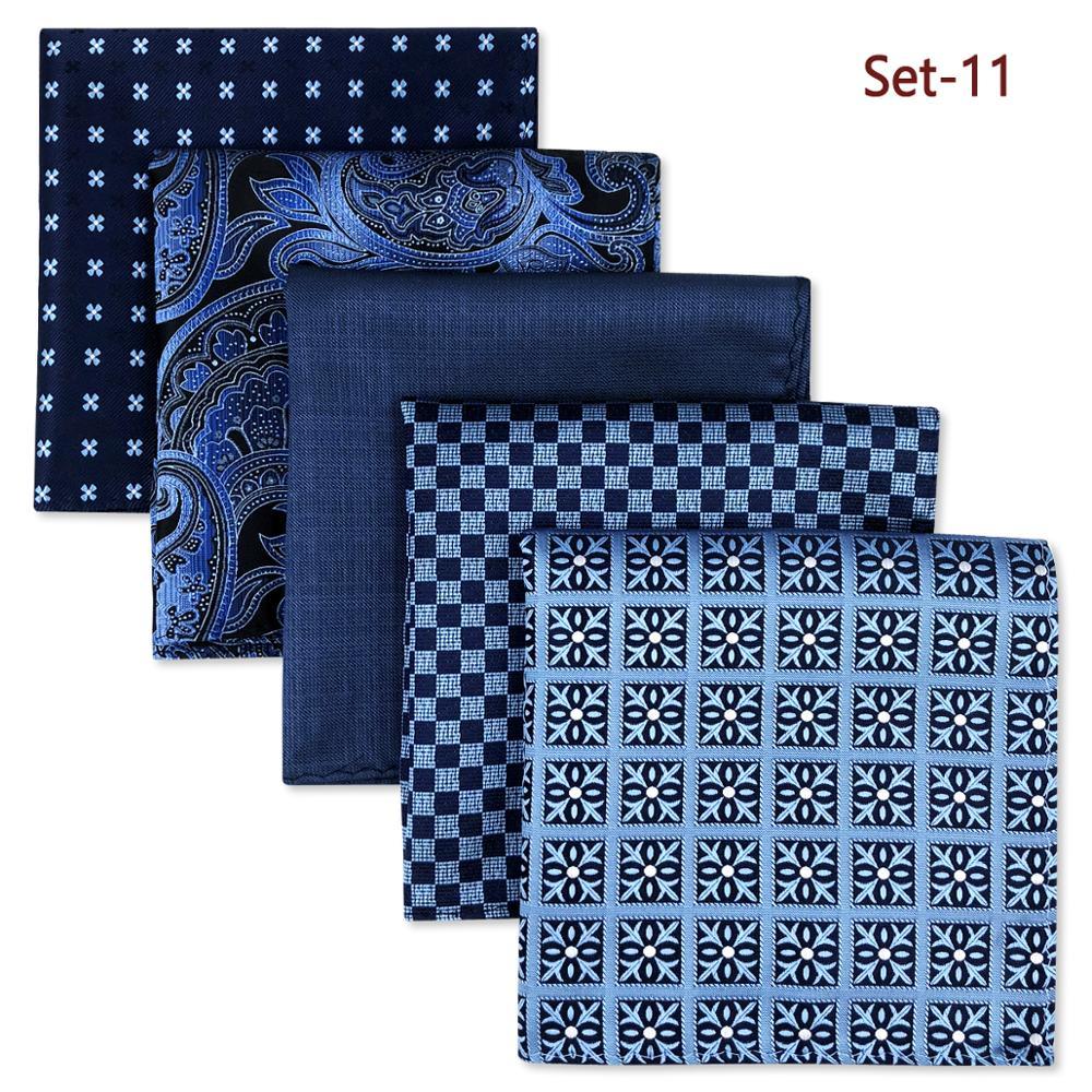 5 Pieces Assorted Mens Pocket Square Fashion Classic Handkerchiefs Set