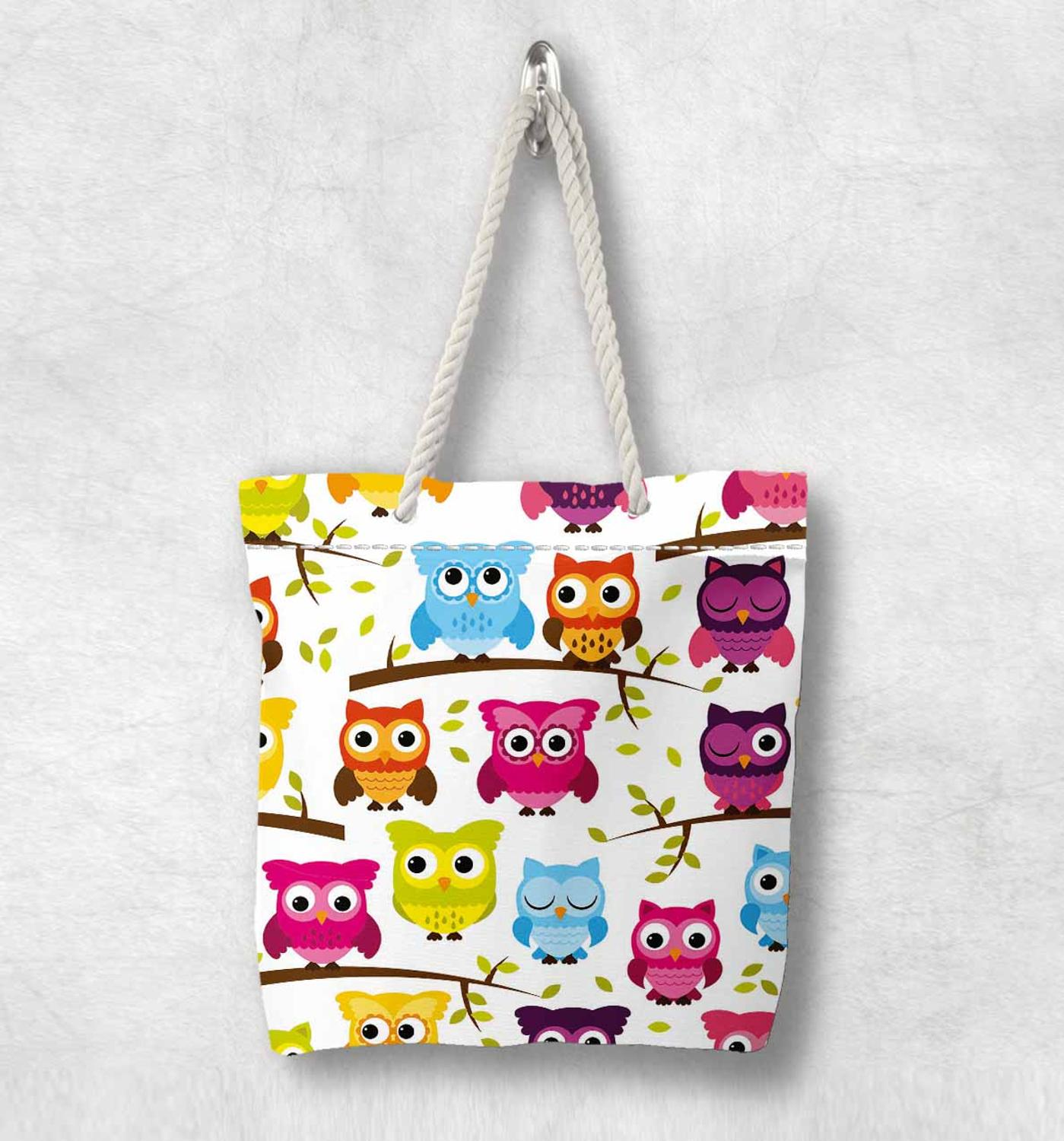 Else Red Blue Orange Yellow Cute Owls  New Fashion White Rope Handle Canvas Bag Cotton Canvas Zippered Tote Bag Shoulder Bag