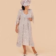 Lakshmigown кружева мать невесты платья костюм формальные свадебные вечерние платья длинный жакет v-образным вырезом чай Длина размера плюс Винтаж