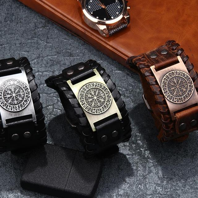 Norse Runes Vegvisir Compass Viking Bracelet Nordic Wristbands Compass Wide Leather Bangle Nordic Men Bracelet Jewelry 4