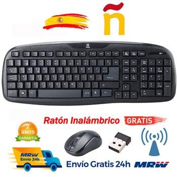 Teclado inalámbrico español y ratón inalámbrico teclas usb ratón con letra Ñ...
