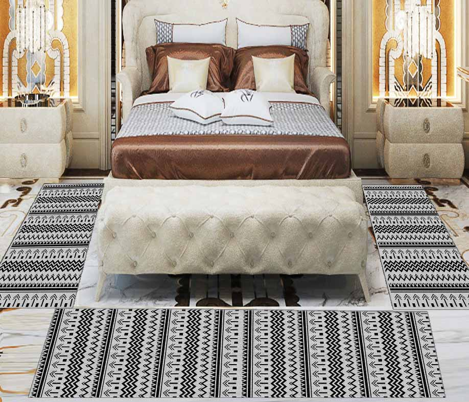 Else 3 Piece Black White Bohemian Geometric Line 3d Print Non Slip Microfiber Washable Decor Bedroom Hallway Area Rug Carpet Set