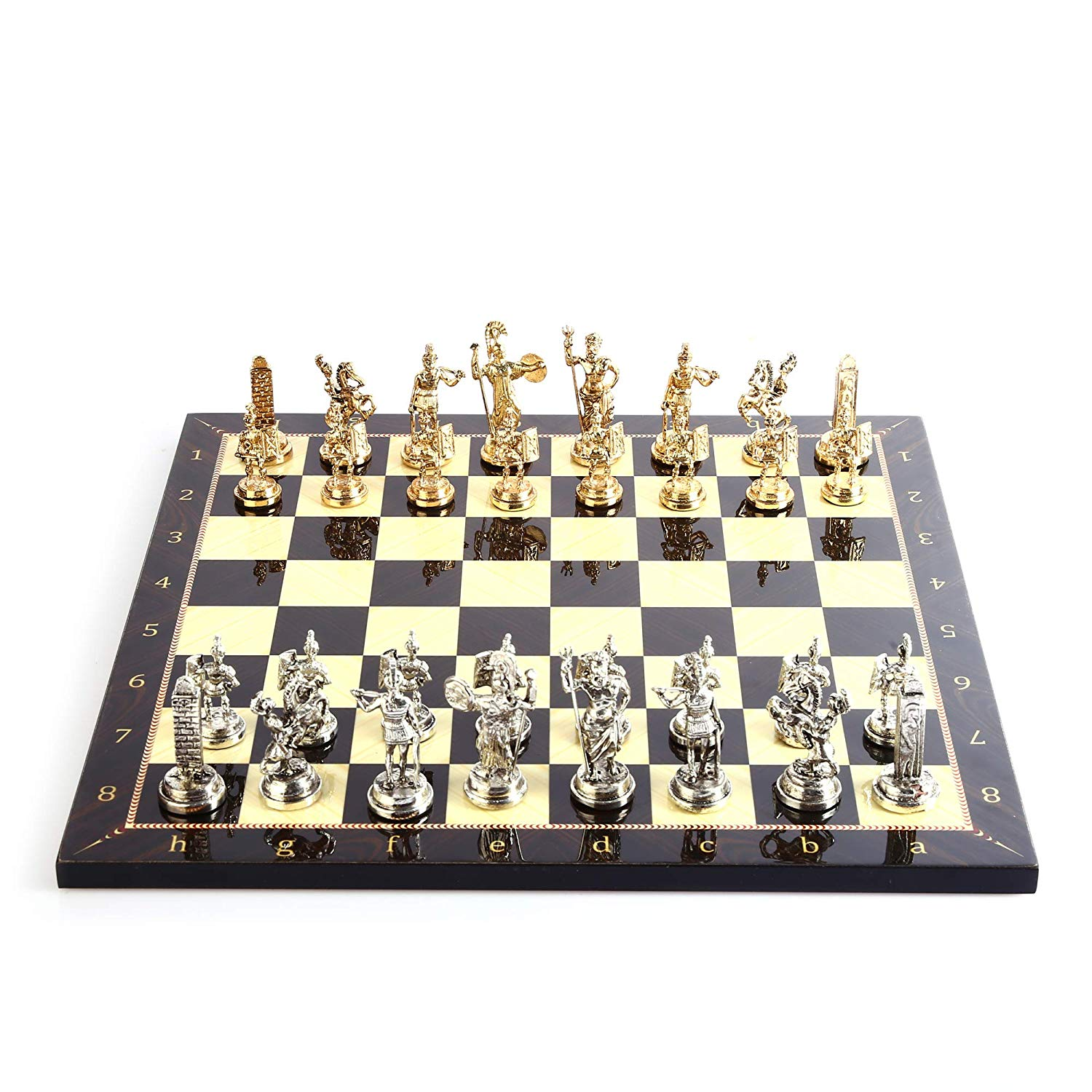 Historical Rome Figures Metal Chess Set For Adult,Handmade Pieces And Walnut Patterned Wood Chess Board Kıng 7 Cm