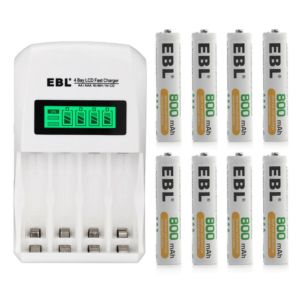 EBL 800mAh <font><b>1.2v</b></font> AAA Rechargeable Battery + Smart LCD Battery Charger for AA AAA <font><b>Ni</b></font>-<font><b>MH</b></font> <font><b>Ni</b></font>-CD Rechargeable Batteries image