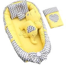 Jaju Baby Nest Gray - Yellow Pattern 6 Piece Babynest Set Baby Bed, Mother's Side,